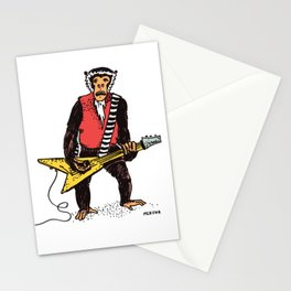 Guitarist Monkey Rocker Funny Animal Monkey Drawing Guitar Player Stationery Cards