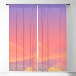 Pastel Gradient Ombre Pink, Purple, Yellow Whimsical Wavy Lines Blackout Curtain