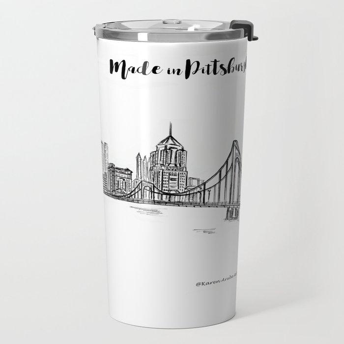 ink sketch pittsburgh skyline travel mug by karenaruba society6