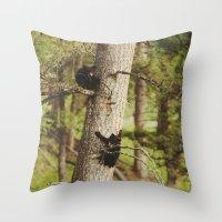 climbing Throw Pillows featuring Climbing Cubs by Kevin Russ