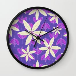 Purple Flowers and Leaves Doodle Illustrated Pattern Wall Clock