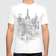 Paris! B&W Mens Fitted Tee MEDIUM White