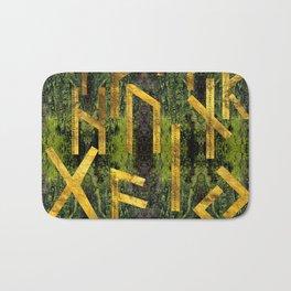 Vintage Gold Runic alphabet on tree bark Bath Mat