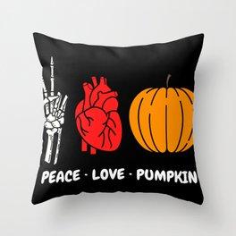 Peace Love Pumpkin Skeleton Hand Human Heart Organ Plump Pumpkin Halloween Lovers Peace Sign Red Throw Pillow