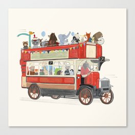the big red party bus Canvas Print