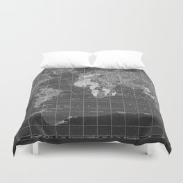 Black and White Vintage World Map Duvet Cover
