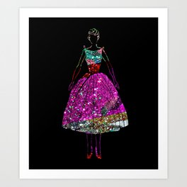 Audrey OZ Stardust Pink Glitter Dress Art Print
