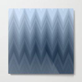 Navy Blue Chevron Ombre Metal Print
