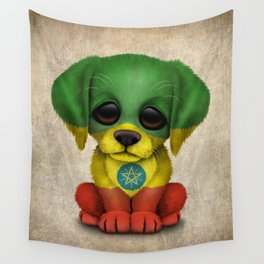 Cute Puppy Dog with flag of Ethiopia Wall Tapestry
