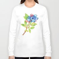 maine Long Sleeve T-shirts featuring Wild Maine Blueberries by Patricia Shea Designs