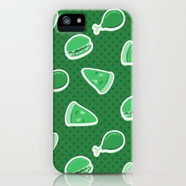 Pizza Burgers and Fried Chicken Time Picnic on Green iPhone Case
