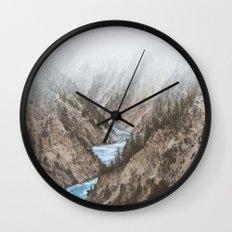 Mountain blue river Wall Clock