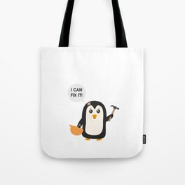 Construction worker Penguin   Tote Bag