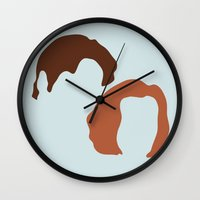 dana scully Wall Clocks featuring Mulder and Scully, X-Files by Mars