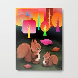 Squirrels In The Forest Metal Print