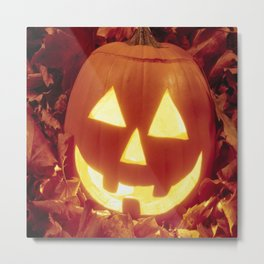 Halloween 🎃 Carved Lighted Pumpkin Metal Print