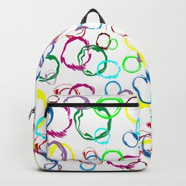 multicolored circles on white background Backpack