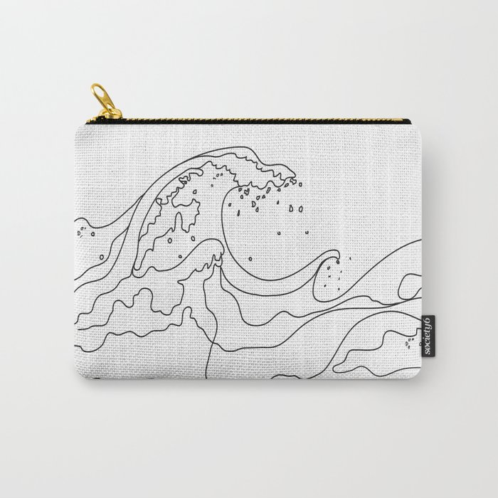 Minimal Line Art Ocean Waves Carry-All Pouch
