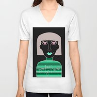 french V-neck T-shirts featuring French by Julieta Gutnisky