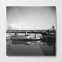 Boats of Newport in Black and White - Newport, Or Film Photograph Metal Print