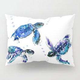 Three Sea Turtles, Marine Blue Aquatic design Pillow Sham
