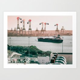 Silent Flamingo Harbour Art Print