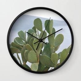 Cactus in Santorini Wall Clock