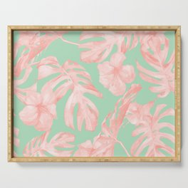 Tropical Palm Leaves Hibiscus Pink Mint Green Serving Tray