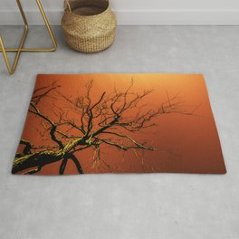 Red Branches of Crimson Dream Surreal Tree Art Rug