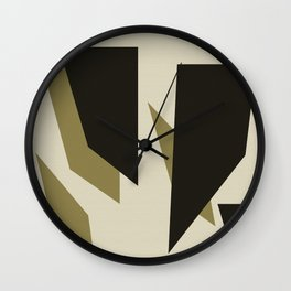 Black Gold Shard Cascade Pattern Linen Beige Cream Luxe Wall Clock