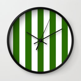 Metallic green - solid color - white vertical lines pattern Wall Clock