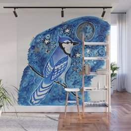 Blue Moon Blue Jay Watercolor Wall Mural