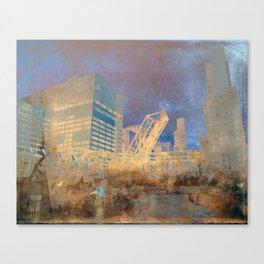Drawbridge Chicago River City Skyline Canvas Print