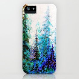 Mountain Landscape Pines In Blue-Greens-Purple iPhone Case