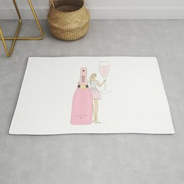 Rose Champagne Fashion Girl Blonde Rug