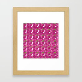 Modern Intersecting Lines in Pink, Lime and White Framed Art Print