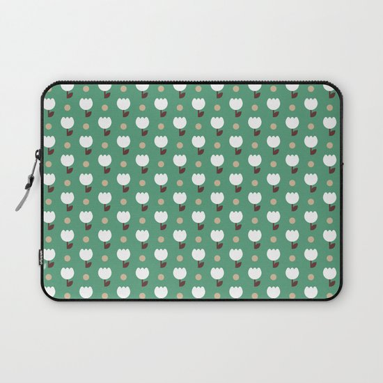 Micro Tulip nude/white/emerald Laptop Sleeve
