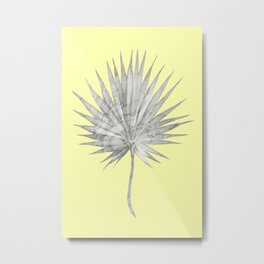 White Marble Fan Palm Leaf on Yellow Wall Metal Print