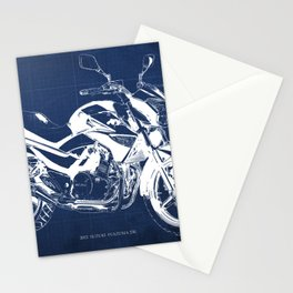Motorcycle blueprint, 2012 Suzuki Inazuma 250, japanese bike Stationery Cards