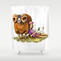 depression Shower Curtains featuring Bucolic depression by Maria Manoura
