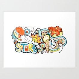 Kawaii Doodle - Just Start Art Print