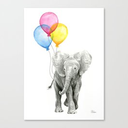 Baby Elephant with Balloons Nursery Animals Prints Whimsical Animal Canvas Print