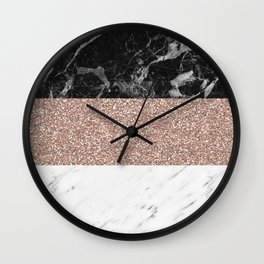 Marble stripes - Deauville rose gold Wall Clock