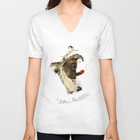 jack russell V-neck T-shirts featuring Jack Russell by Ariadna