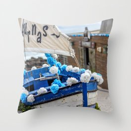 Boat at the seaside Throw Pillow