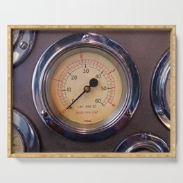 control - vintage industrial dials and gauges Serving Tray