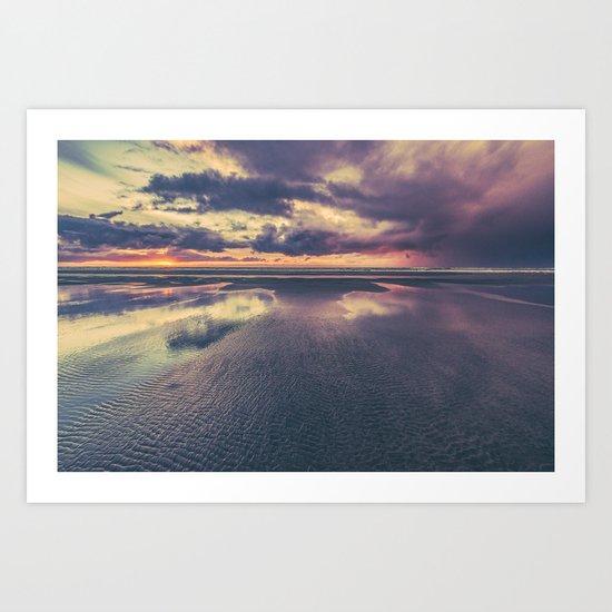 Stormy Beach Sunset Art Print