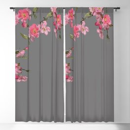 Cherry Flowers grey background Blackout Curtain