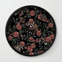 Dusty Rose Raccoons Wall Clock