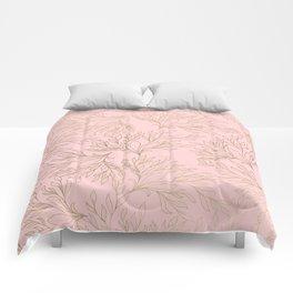 Elegant blush pink faux gold floral leaves Comforters